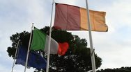 Stock Video Footage of Italian flag flapping gently against tree and sky