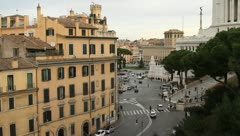 Traffic near Victor Emmanuel II Monument in Rome Stock Footage