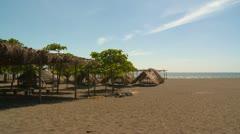 Beach huts, Pacific ocean, Panama Stock Footage