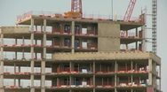 Apartment block development along a canal Stock Footage