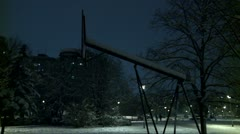 Basketball court at night during winter 1 - stock footage