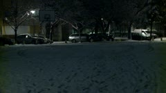 Basketball court at night during winter 3 - stock footage