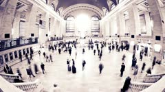 High Contrast Grand Central fisheye timelapse - stock footage