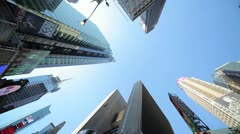 Times Square New York City low angle super wide pan Stock Footage