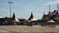 Cirque Du Soliel Tent Rises from the sand on Santa Monica parking lot Stock Footage