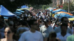 Crowd, Brazilian People, Street Market, Farmer Market - Sao Paulo, Brazil. - stock footage