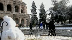 Rome under the snow - Colosseum - February 2012 Stock Footage