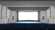 Stock Video Footage of Cinema auditorium, flying into the screen