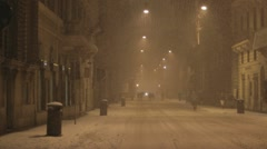 Via Del Corso in snow at night, Rome, Italy Stock Footage
