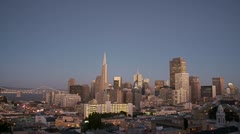 San Francisco skyline Day to Night two speeds Stock Footage