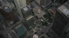Aerial view of downtown city skyscrapers LA, USA Stock Footage