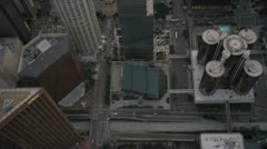 Aerial vertical view of skyscrapers in downtown Los Angeles, USA - stock footage