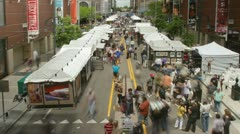 Crowds of People at an Art Fair Time Lapse Stock Footage
