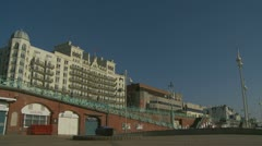 Brighton seafront & Grand hotel Stock Footage