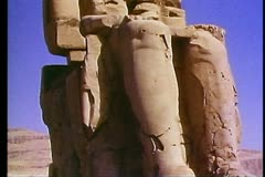 The Valley of the Kings, the Colossus of Memnon 108145 Stock Footage
