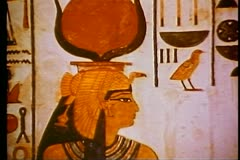 A tomb painting in a Pharaonic tomb in The Valley of the Kings 108129 Stock Footage