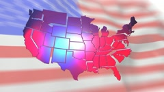 United States of America Map and Flag Stock Footage
