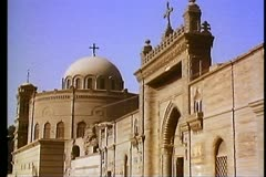 Old Cairo, Coptic district, medium shot ,dome and gate 108173 Stock Footage