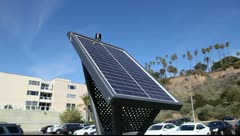 Solar panel for parking ticket booth Stock Footage
