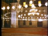 Stock Video Footage of Muhammad Ali Mosque of Cairo, interior hanging lamps 108190
