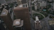 Aerial view of downtown helipads, skyscrapers, LA, USA Stock Footage