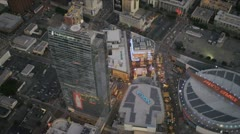 Aerial view of downtown Staples Centre, Los Angeles, USA Stock Footage