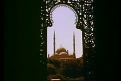 Mosques of Cairo, Muhammad Ali Mosque, distant, filigree keyhole arch Stock Footage