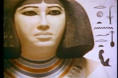 Cairo Museum, interior, close up female figure carved in white alabaster Stock Footage