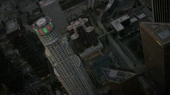 Aerial view at dusk of US Bank Tower, Los Angeles, USA Stock Footage