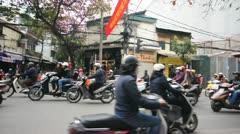 Busy street scene of Hanoi, Vietnam Stock Footage