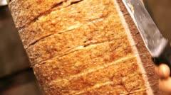 Slicing fresh kebab meat from skewer Stock Footage