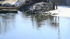 Construction Equipment in Water with Pan - stock footage