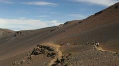 Horseback riding in Haleakala Crater, Maui, Hawaii Stock Footage