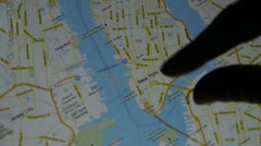 Operations map with fingers on ipad.Satellite,Location,Enlarge. - stock footage