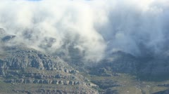 Table Mountain, Devils Peak Covered with Clouds Stock Footage