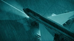 34 Airplane mooving on  runway at night time - stock footage