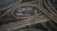 Aerial vertical view of traffic freeway, USA Stock Footage