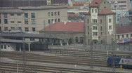 Locomotive traveling through railway station of Tai'an in china. Stock Footage