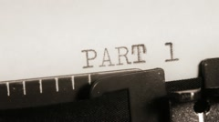 PART 1 to 4. Section of the book. Typewriting. Stock Footage