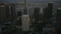 Aerial dusk view of downtown  skyscrapers LA, USA Stock Footage