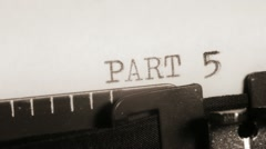 PART 5 to 8. Typewriting. Section of the book.  Stock Footage