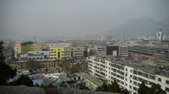 Bird's eye view of railway station of Tai'an city in China.Taishan Mountain. Stock Footage