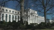 Stock Video Footage of Bleak Federal Reserve , winter trees, Washington, DC