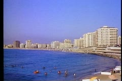 Alexandria, beach, modern skyline, wide shot - stock footage