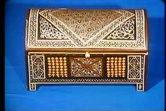 Cairo Bazaar, shop interior, inlayed box, 3 shots, medium and close-up Stock Footage