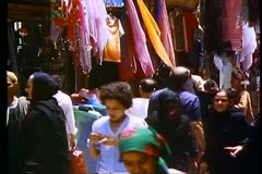 Stock Video Footage of Cairo Bazaar, the Khani Khailil, medium shot, active, busy, 2 shots
