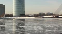 Birds on frozen city river DNxHD Stock Footage