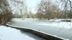Frozen Winter Lake and Parkland  Scene Stock Footage