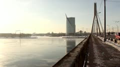 Bridge, winter river, chimneys DNxHD Stock Footage