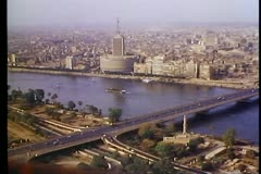 A view of Cairo and the Nile from the Cairo Tower Stock Footage